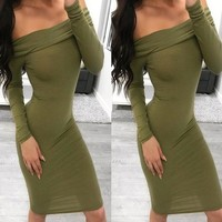 Women's fashion one-piece collar hip long-sleeved dress