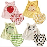 Toddler Baby Clothes Summer Baby Girls Clothing Sets Cartoon Baby Rompers Roupas Infant Jumpsuits Baby Boy Clothes + Shorts