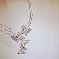 Find Fashion Hollow Cute Animal Butterfly Clavicle Chain Jewelry For Women Wedding Birthday Gift