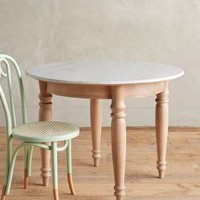 """Polished Marble Dining Table, Round by Anthropologie in Neutral Size: 40"""" Round Furniture"""