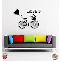 Wall Vinyl Stickers Lovely Bike With Hearts Romantic Decor For Lovers  z1566