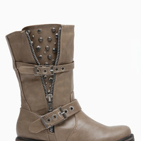 Taupe Faux Leather Embellished Rider Boots