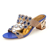 Summer Fashion Rhinestone Cut-outs Women High Heel Sandals Ladies Party Dress Shoes Woman