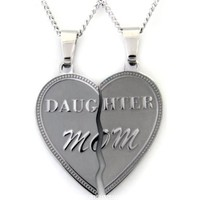 Mom Daughter Necklace Heart Pendant Set 2 Half Heart Pieces (2) 18 Inch Chains - Mother Daughter Jewelry:Amazon:Jewelry