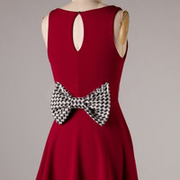 Time to Tailgate Burgundy & Houndstooth Bow Gameday Dress