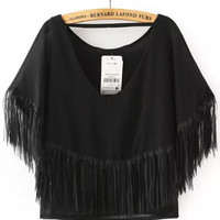 Black V-Neckline Tasseled Frill Crop Top