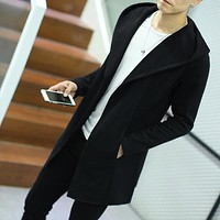 Autumn Winter 2017 Long Hooded Jacket Coat Men Solid Knitted Manteau Coat Male Windbreaker Open Stitch Coats Casual Mens Trench