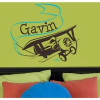 Alphabet Garden Designs Adventure Plane with Personalized Banner Wall Decal - child101 - All Wall Art - Wall Art & Coverings - Decor