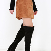 Wait No More Black Suede Over the Knee Boots