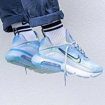 Bunchsun Nike Air Max 2090 Popular Women Men Breathable Sport Running Shoes Sneakers Grey&Blue