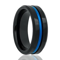 High Polished Tungsten Wedding Band for Men with Blue Groove in Center & Beveled Edges - 6MM - 8MM