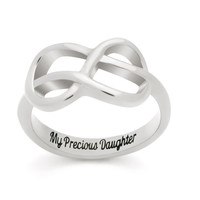 """Infinity Ring For Daughter, Double Infinity Ring, Purity Ring """"My Precious Daughter"""" Engraved on Inside Best Gift for Daughter"""