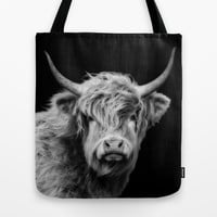 Highland Coo Black And White  Tote Bag by Linsey Williams