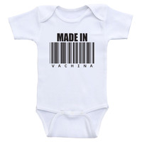 """Funny Baby Bodysuits """"Made In Vachina"""" Baby Shower Gifts"""