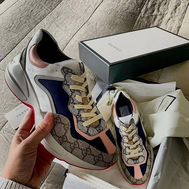 Image of GUCCI GG Rhyton Men's and Women's Platform Cushioning Sneakers Shoes