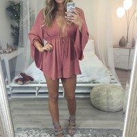 Autumn Fields Rust Bell Sleeved Romper With Clinched Waist