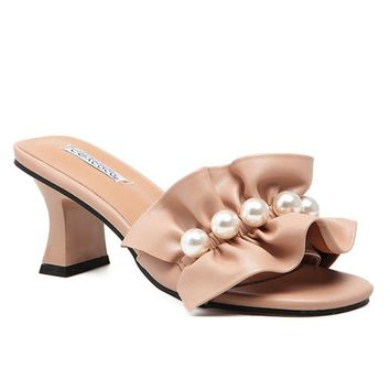Faux Pearl High Heel Slide Sandals