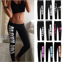 Letter Printed Black Fitness Leggingst, 9 Colors available
