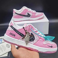 Dior x Nike Sb Dunk Low Pro Air jordan 1 AJ 1 Men and women board shoes casual sports shoes sneakers Pink