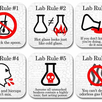Lab Rules Science Coaster Set- 6 piece set