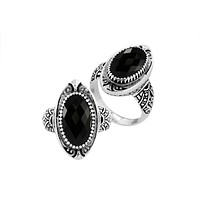 "AR-6285-OX-7"" Sterling Silver Ring With Black Onyx"