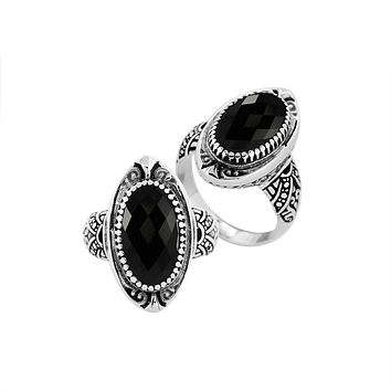 """AR-6285-OX-7"""" Sterling Silver Ring With Black Onyx"""
