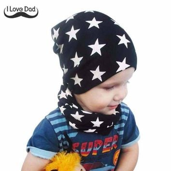 1Set New Spring Autumn Crochet Baby Hat Girl Boy Cap Cotton Scarf Beanie Star Infant Knitted Toddlers Children Hats Scarves