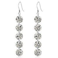 925 Sterling Silver Five CZ Diamonds Drop Earrings
