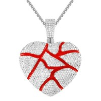 Silver Broken Cracked Red Heart Bling Custom Pendant