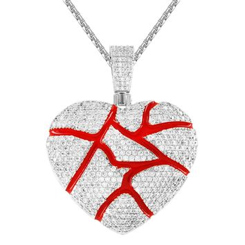 Silver Broken Cracked Red Heart Iced Out Custom Pendant