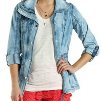 Acid Wash Chambray Anorak Jacket by Charlotte Russe