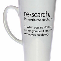 Research Definition - funny coffee or tea mug.