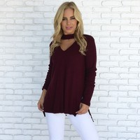 Soft & Simple Sweater Top in Deep Wine