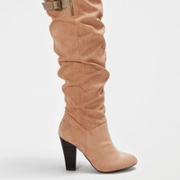 Taupe Scrunched Suede Heeled Boot By Qupid® | Heeled Boots | rue21