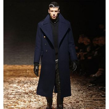 Autumn and winter men's  slim clothing trench male long design thickening wool coat  men cashmere woolen overcoat
