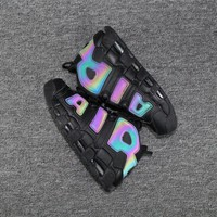 Best Deal Online Nike Air More Uptempo QS Reflective 3M Men Sneaker Black/Black-Wolf Grey Women Sports Shoes