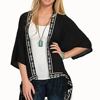 Wrangler Women's Black with Aztec Trim & Fringe Short Sleeve Kimono