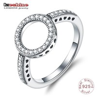 LZESHINE 100% Genuine 925 Sterling Silver Ring Forever Love Clear CZ Circle Round Finger Rings For Women Luxury Jewelry bijoux