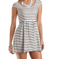 Mesh-Striped Cap Sleeve Skater Dress by Charlotte Russe