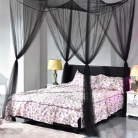 Cool Four-door White/Black Bed Canopy Mosquito Net Queen King Size Netting Bedding Home DecorAT_93_12