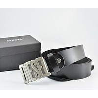 Diesel  Men Fashion Smooth Buckle Belt Leather Belt