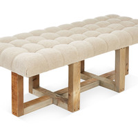 """Theodore 24"""" Tufted Bench, Oatmeal, Bedroom Bench"""