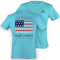 Simply Southern PRP America Home of the Free USA Flag Bow Anchor Sea Girlie Bright T Shirt
