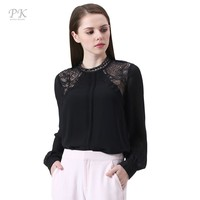PK Black Lace Blouse 2017 Women Tops Blouses Female Shirts Feminine Cuff Femme Chiffon Puff Long Sleeve Blouse Shirt Women