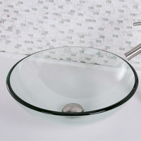 Crystalline Round Circular Clear Glass Modern Vessel Bathroom Sink