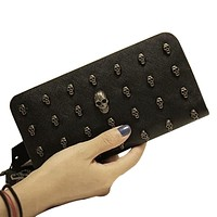 New PU Leather Women Wallets Retro Punk Skull And Crossbones Clutch Raindrops Pattern Gift Change Purses Card Holders LX