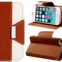 Faux Leather Flip Case with Magnetic Closure & Card Slots for iPhone 5S/5 (Brown)