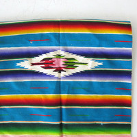 Antique Saltillo Serape Mexican Table Runner or Wall Hanging. Vintage Southwestern tapestry. 50s colorful wool rug hanging.