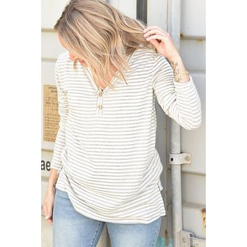 Simple and True Top - Gray Stripe