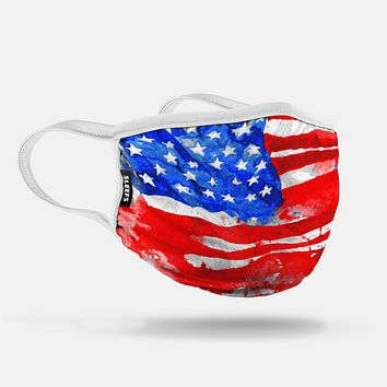 Watercolor USA Flag Face Mask With Filter Pocket